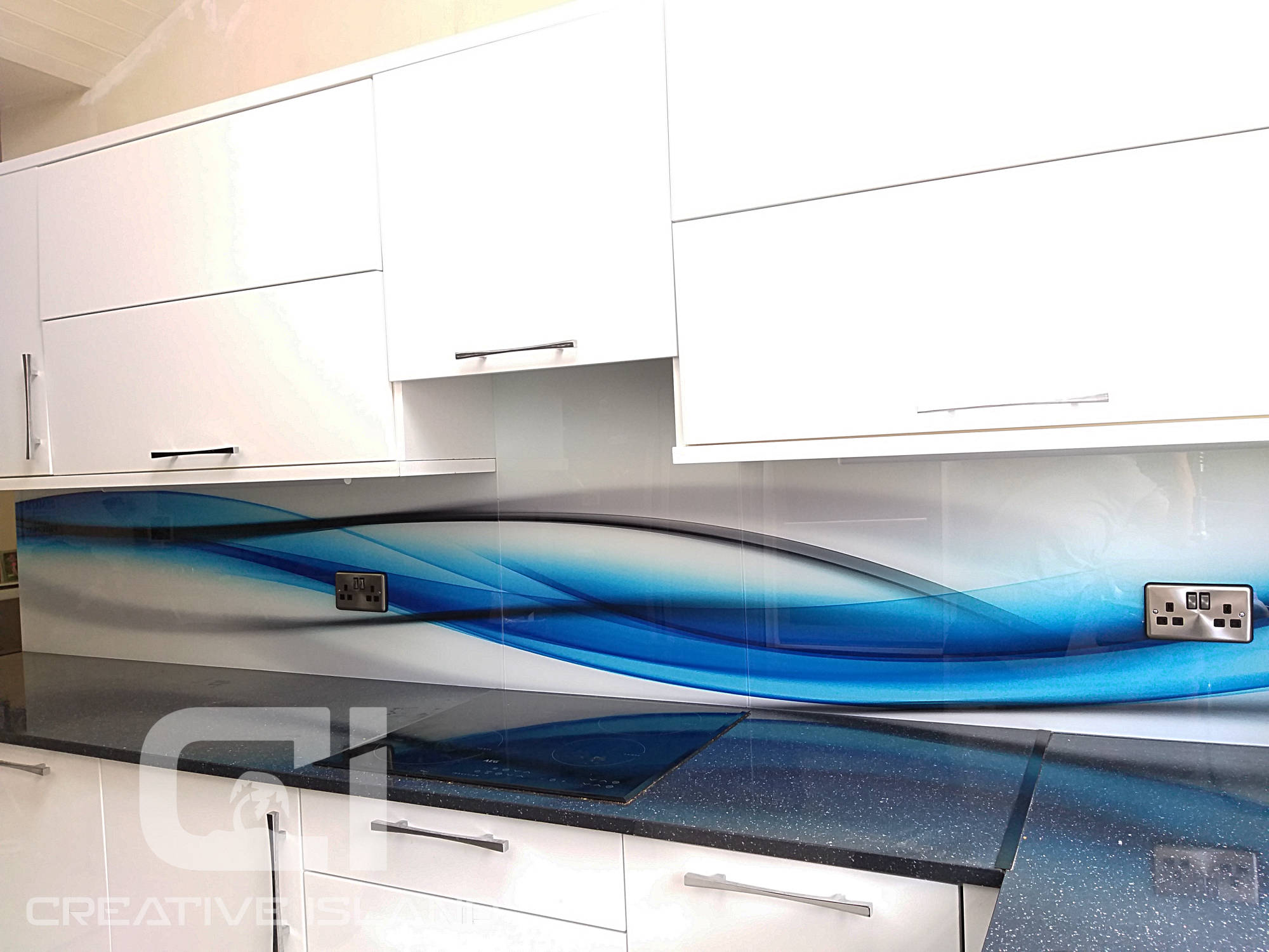 Creative Island glass splashback